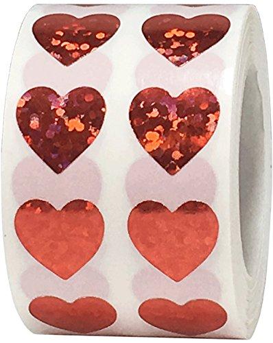 Rode Fonkelende Hart Stickers, 13 mm 1/2 Inch Valentijnsdag Glanzende Holografische Labels 1000 Pak
