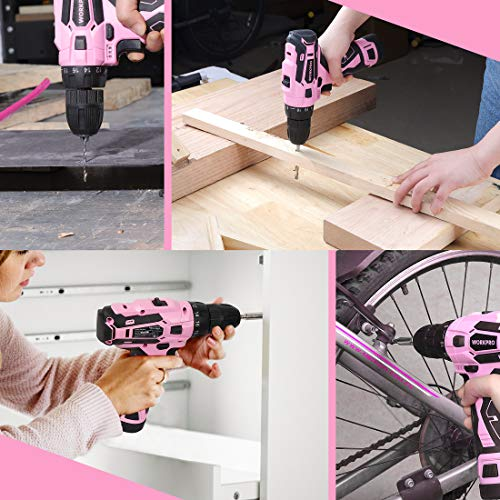 WORKPRO Pink Cordless Drill Driver Set, 12V Electric Screwdriver Driver Tool Kit for Women, 3/8