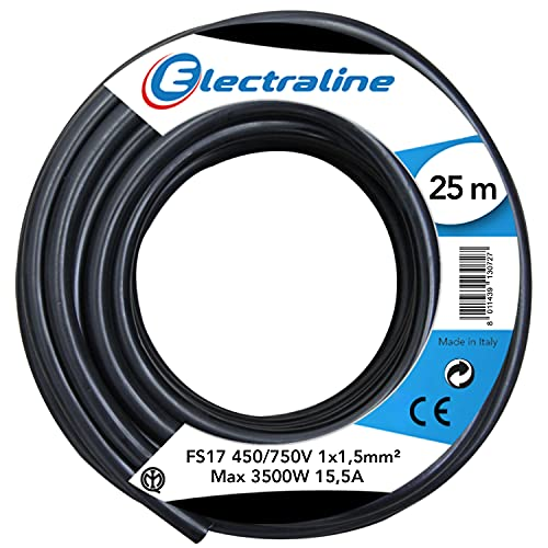 Electraline 13072Cable unipolar FS17, sección 1x 1.5mm², Negro, 25m