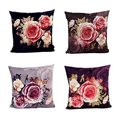 Set of 4 Colorful Geometric Throw Pillow Covers Decorative Burlap Toss Pillowcases Square Cushion Cases 18 x 18 Inch for Living Room,Couch,Bed (Peony Flower (Set of 4))