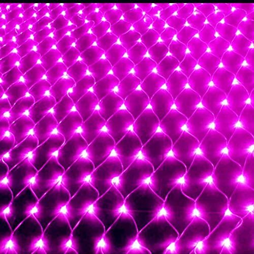 LED Lichtervorhang Lichter Lichterketten, Multi-Color-Net-Licht, LED Net Fairy Light String, Wasserdichte Feiertags-Dekoration Star Light String 1.5mX1.5m, 2mx2m, 3mx 2m (Color : Pink-3mX 2m)
