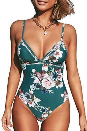 CUPSHE Damen Einteiler Badeanzug Triangel Blumenmuster Kreuz Rückenfrei Einteilige Bademode Swimsuit Blaugrün L