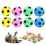 RuiChy 8 Piezas Bola de Esponja Juguetes para Gatos, Color Brillante Balones de Fútbol de Espuma, Sin Ruido Interactivo Bolas para Mascotas Gatito Actividad Jugando Masticación Juguete de Ejercici