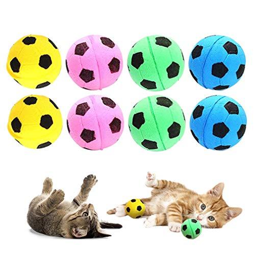 RuiChy 8 Pcs Sponge Ball Cat Toys, Soft Bright Color Foam Soccer Toy Balls,...