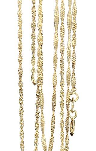 Hobra-Gold 45 cm fijne singpurketting - gedraaid gouden ketting 333 - delicate ketting goud