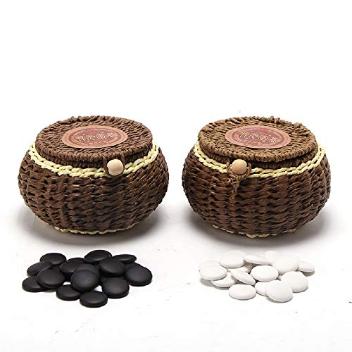 Elloapic Go Chess Game Set with Exquisite Ceramics Stones in Hand Made Woven Braid Cans + Cloth Go Game Board