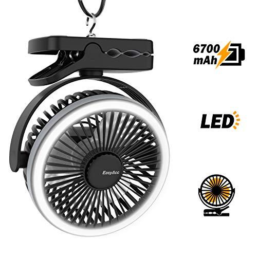EasyAcc Ventilatore Clip da Campeggio,6700mAh Ventilatore USB da Tavolo con Luce LED Ricaricabile Cavo 4 velocità Girevole 360° Appendere Gancio Ventola Portatile per Viaggi Passeggino Tende