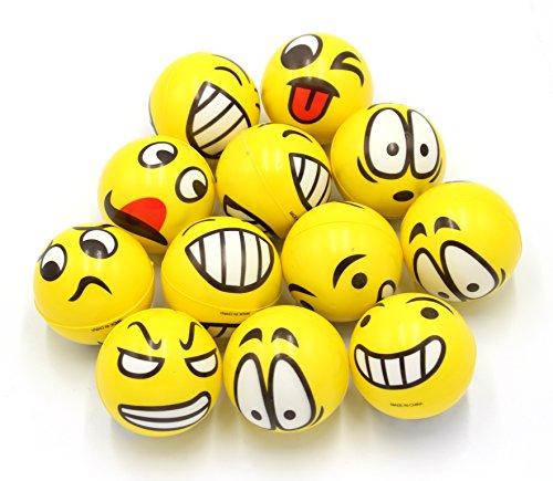 FIVOENDAR 2.5 inch Yellow Kids Adults Favor at School Fun Face Stress Balls Cute Hand Wrist Stress...