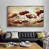 Cuadro artístico en lienzo, flor de hoja de loto, decoración creativa idílica, imagen moderna, decoración Vintag para sala de estar, cuadros de plantas de aceite 60x120 CM (sin marco)