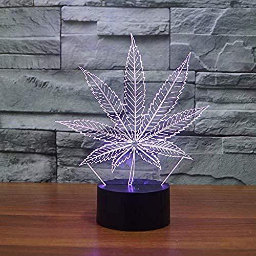 Luz de noche LED 3D Lampara de hoja de marihuana Cananbis Weed Visual Room Party Deco Lighting Cumpleanos y vacaciones para ninos