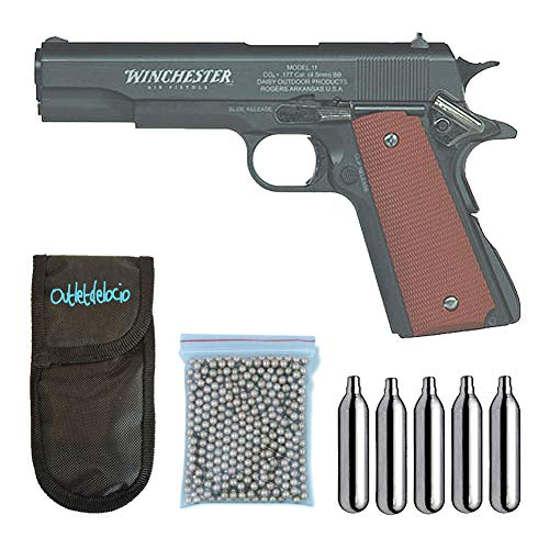 Outletdelocio. Pistola perdigon Winchester M11 Blowback. Co2. Metal. 4,5mm + Funda Portabombonas...