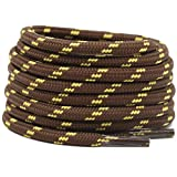 DELELE 2 Pair Non-slip Outdoor Mountaineering Hiking Walking Shoelaces Round Coffee Yellow String Rope Boot Laces Strong...