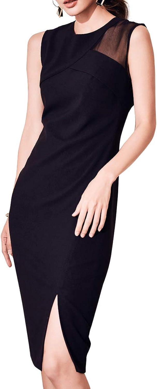 ROEYSHOUSE Women's Sleeveless KneeLength Little Black Sheath Dress with Exposed Shoulder Sheer
