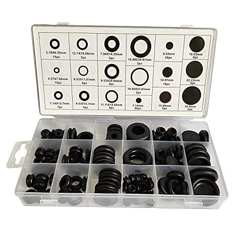 ALLNICE Svart Gummi Öljett Öljett Ring Elektrisk Ledare Packning Ring Urval Kit för att skydda trådar, pluggar och kablar 125pcs 18size