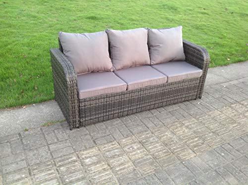 Curved Arm Rattan 3 Seater Sofa Garden Furniture Outdoor Mixed Grey