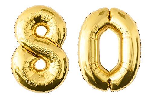 Folienballon 80 gold Zahlenballon Luftballon Riesenzahl Party Hochzeit Kindergeburtstag Geburtstag