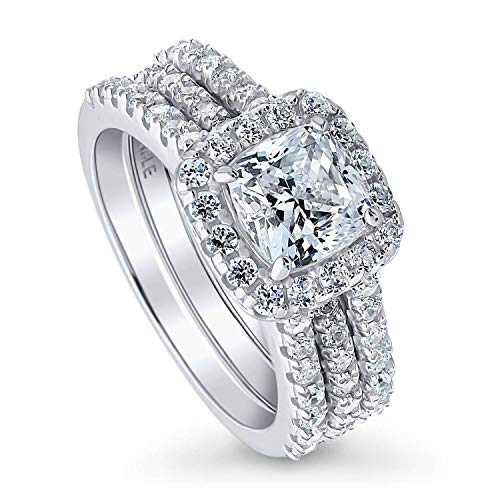 BERRICLE Rhodium Plated Sterling Silver Cushion Cut Cubic Zirconia CZ Halo Engagement Wedding Insert Ring Set 2.62 CTW Size 7