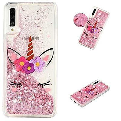 HopMore Funda Silicona para Samsung Galaxy A50 Glitter Liquido 3D Brillante Purpurina Transparente Dibujo Carcasa Resistente Caso Protección para Chicas Mujer - Unicornio