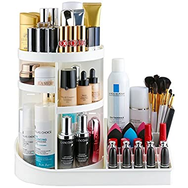 Jerrybox Makeup Organizer Tray, Adjustable Makeup Organizer, Fits Toner, Creams, Makeup Brushes, Lipsticks and More, White