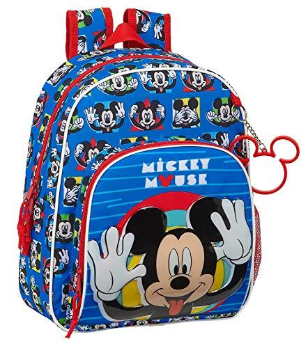 Safta Mochila Infantil de Mickey Mouse Me Time, 280x100x340mm, azul/rojo, m