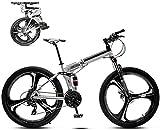 Bicicleta de montaña de 26 pulgadas, unisex, plegable, 30 velocidades, velocidad variable, freno de disco doble ajustable