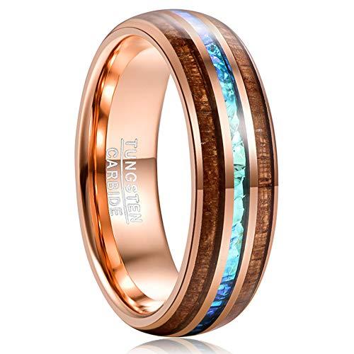 Vakki Ring 8mm Herren Hartmetall Verlobungsring Rose Gold plattiert Ehering mit Imitierten Opal und Hawaiian Koa Holz Inlay 56(17.8)