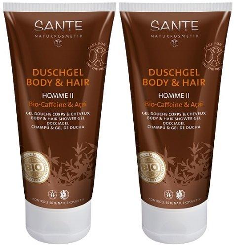 Sante Homme II Gel douche Body & Hair Café bio & Acai 2 x 200 ml Stimulant Revitalisant Nettoyant Doux Bon marché Bio Herb Fraîcheur