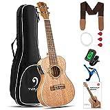 Vangoa Ukulélé de Concert Acajou 23 pouces Ukulélé électro-acoustique avec égaliseur 2 bandes, sac de transport, kits pratiques pour débutants