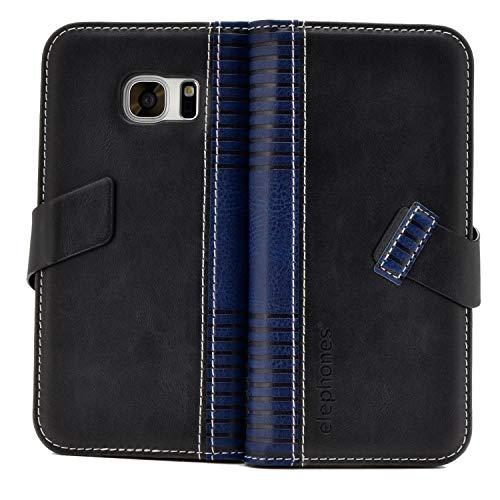 elephones Schutzhülle kompatibel mit Samsung Galaxy S7 Hülle Handyhülle Handy-Tasche Wallet Case Cover Schwarz