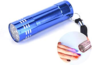 1pc Blue 9 Led Aluminum Small Mini Uv Flashlight Dryer Lamp for Nail Art Gel, Torch Curing Resin Jewelry, Portable Travel ...