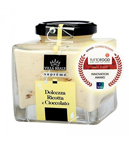 VILLA REALE SUPREME Crema para Untar, Chocolate para Untar con Ricotta 220 Gr. Crema de Chocolate y Ricotta a Base de Leche, Crema Dulce. Especialidades Sicilianas para Recetas 100% Made in Italy