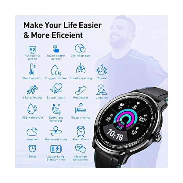 Smartwatch,Reloj Inteligente con Pulsómetro,Calorías,Cronómetros,Monitor de Sueño,Podómetro Pulsera Actividad… 4