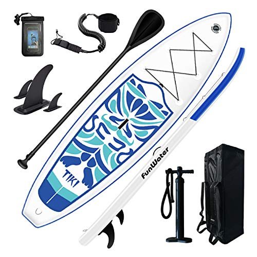 """FunWater Inflatable 10'6×33""""×6"""" Ultra-Light (17.6lbs) SUP for All Skill Levels Everything Included with Stand Up Paddle Board, Adj Floating Paddles, Pump, ISUP Travel Backpack, Leash,Waterproof Bag,"""