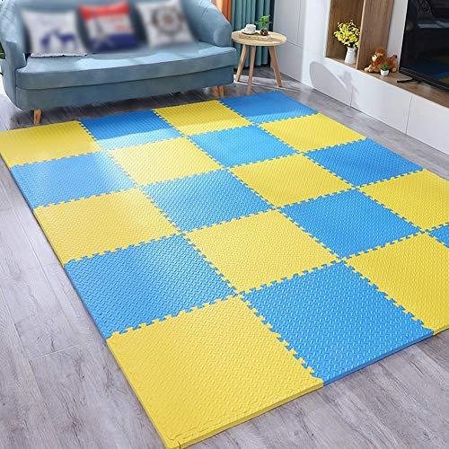 WZHIJUN Jaune + Bleu 16 Pièces 2cm / 2.5cm Doux Épissure Tapis De Bébé Enfant Puzzle Coussinet De Mousse (Color : 60×60×2.5cm, Size : 16pcs Pack)