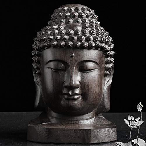 Estatuilla de Coleccionable Estatua, Sakyamuni Tathagata Cabeza de Buda Escritorio Caoba Tallado Madera Artesanal Regalo Adorno Decoración Del Hogar Mini Hecho a Mano - Como Imagen Mostrar, free size