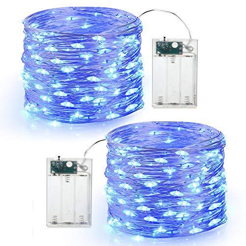 Guirnalda Luces Pilas, BrizLabs 2 x 60 Luces LED Pilas Luces LED Habitacion Luces de Cadena Micro con Pilas de Alambre de Cobre para Decoración Interior Bodas Fiesta de Navidad (Azul)