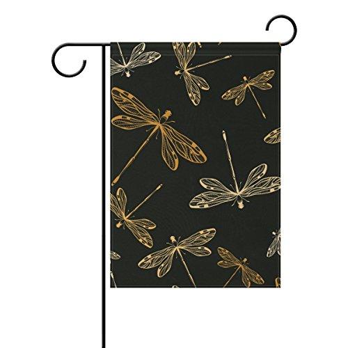 Jstel Home libellules Noir Tissu Polyester drapeaux de jardin Lovely et résistant aux moisissures personnalisés imperméables de 71,1 x 101,6 cm