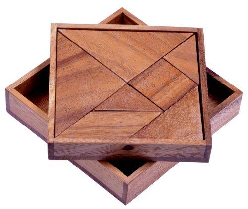 LOGOPLAY Tangram 'Quadrat' - Legespiel - Denkspiel - Knobelspiel - Geduldspiel - Logikspiel aus Holz