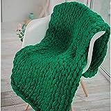 ASY Manta de punto gruesa hecha a mano para tejer, manta gigante, suave, gruesa, supersuave, manta para sofá, manta para mascotas, decoración de dormitorio, verde, 50 x 50 cm