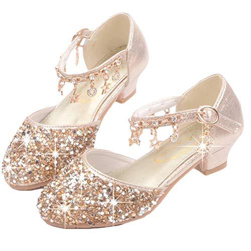scarpe da ballerina YOGLY Scarpe con Tacco Ragazza Ballerine Bambina Cerimonia Festa Lustrino Nozze Scarpe da Principessa Eleganti Danza Latina Bambini Tacco Sandali EU26-38