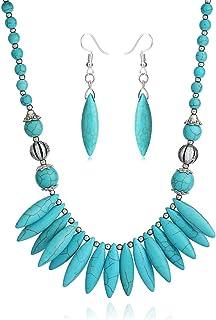 Boho Turquoise Long Beaded Necklace For Women Vintage Ethnic Alloy Pendant Jewelry