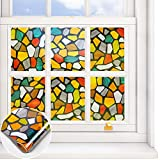 VEELIKE Window Film Privacy Classy Stained Glass Window Cover Static Window Cling Decorative Non-Adhesive Removable Anti UV Window Door Covering Vinyl Home Living Room 15.7x118 Inches, Colored Stone