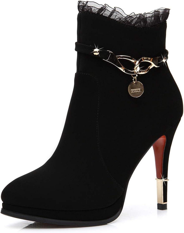 Cute girl Winter's Stiletto Frauen Stiefel Runden Kopf High Heels In Gre Frauen Schuhe Schwarz