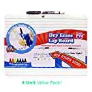 Board Dudes Double Sided Dry Erase Lapboard, 9 x 12 Inches (DFB52) (4 Pack)