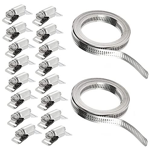 2×118.1 Pollici Fascette Stringitubo In Metallo16 Pcs Elementi Di Fissaggio Stringitubo In Acciaio Inox Morsetto a Vite Per Tubo Dell'Acqua Fascette Per Tubi Regolabili Per Il Fissaggio Dei Tubi