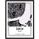 GUICAI Mapa de la Ciudad de Lisboa, película artística, Lienzo, Pintura, Carteles artísticos, impresión para la decoración de la Sala de Estar de la Pared del hogar, 50X70 cm, sin Marco, 1 Uds.