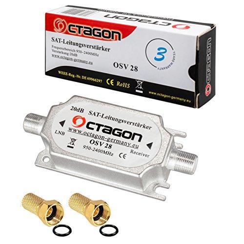 HB-DIGITAL - Amplificador de señal satélite (20 dB, OSV 28 + 2 Conectores F Dorados)