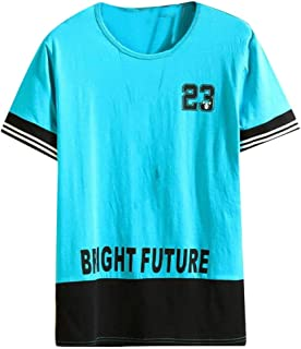 MK988 Men Casual Sport Short Sleeve Round Neck Color Block Floral Print T-Shirt Tee Tops