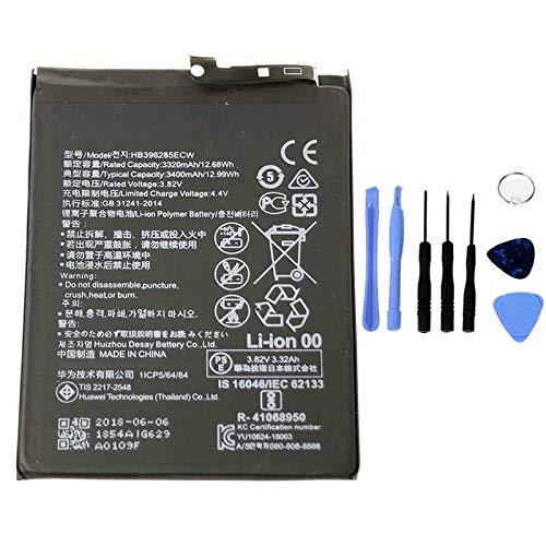 Ellenne Batterie compatible avec Huawei P20, Honor 10 V10, HB396285ECW, haute capacité, 3400 mAh, kit de démontage inclus