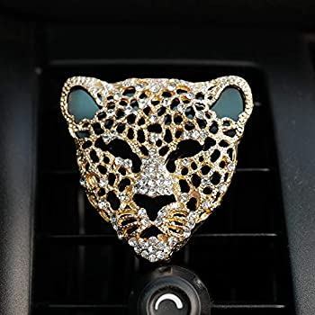 0717.F Creative Car Charm Bling Leopard Head Vehicle Interior Air Vent Decorations Clip with Perfume Container  Gold